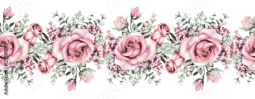 isolated Seamless pattern border with pink flowers, leaves, vintage watercolor floral pattern with leaf and rose, herbs, seamless floral strip, rim, seamless band for cards, wedding or fabric. - 129561849