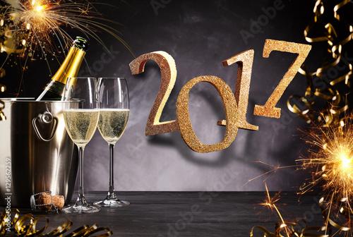 Poster Fiery festive 2017 New Year party celebration