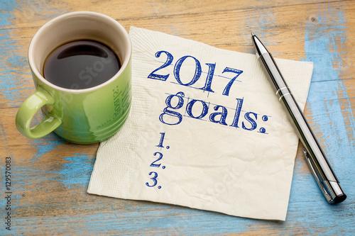 Poster 2017 goals list on napkin