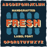 Handcrafted cartoon style label typeface with volume effect