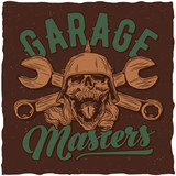 Garage masters t-shirt label design