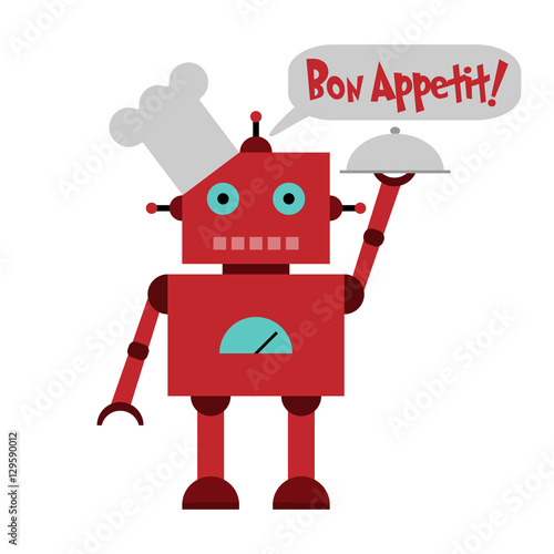 vector illustration of a toy robot in toque with plate and text bon