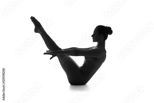 Plagát Nude yoga, artistic photos of beautiful sexy body of young woman with perfect fi