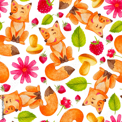 Cotton fabric Seamless watercolor pattern with adorable and bright fox, mushrooms, raspberries, and strawberry. Children illustration