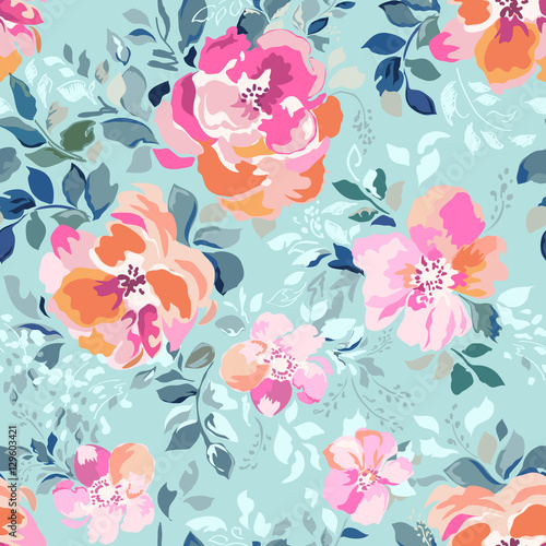 Cotton fabric Soft pink and orange flowers on a blue background - seamless print