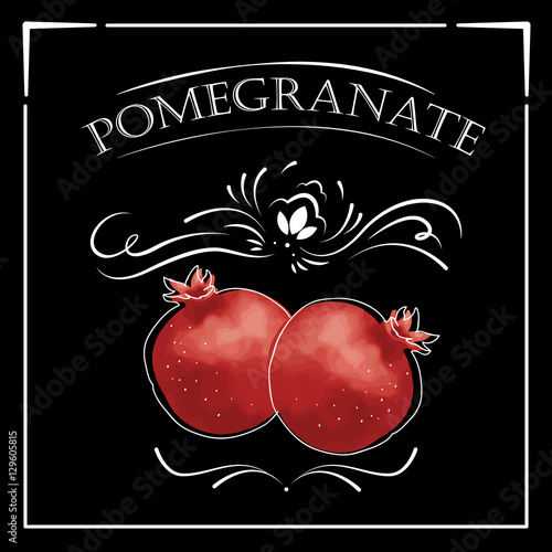 Vector card in vintage style. Stylized drawing with chalk on a blackboard with pomegranate. - 129605815
