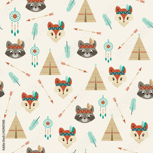 Cotton fabric American iIndians seamless pattern