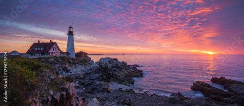 Foto Murales Portland Head Light Panorama Sunrise