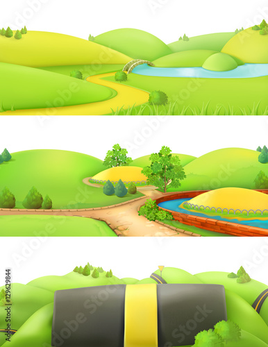 Deurstickers Lime groen Nature landscape. Park and outdoor. Cartoon game background. 3d vector set