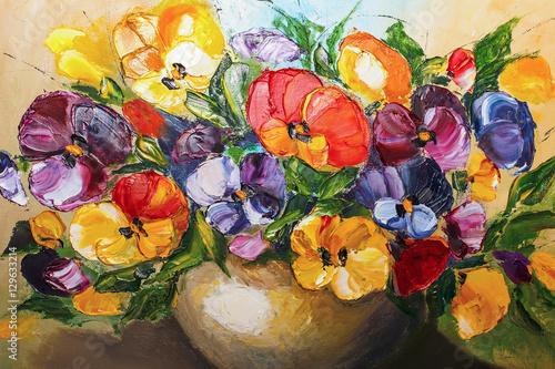 Obraz texture oil painting flowers, painting vivid flowers