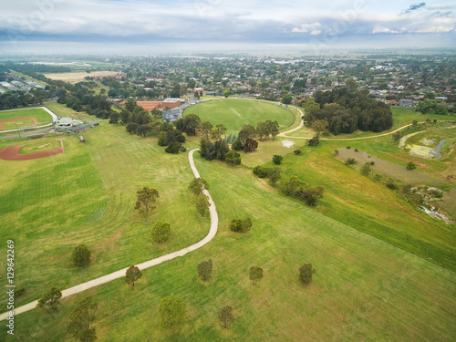 Aerial view of sports oval at Bcentennial Park in Chelsea, Melbourne, Australia Poster