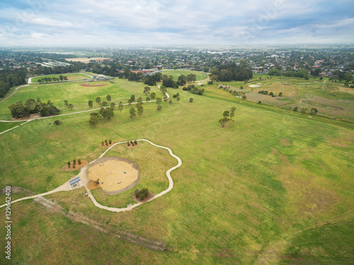Aerial view of Bcentennial Park in Chelsea, Melbourne, Australia Poster