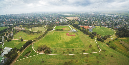 Panoramic aerial view of Bicentennial Park and surrounding suburban areas in Che Poster