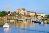 Auxerre, péniche sur l'Yonne, abbaye Saint-germain, Bourgogne-Franche-Comté - 129649687