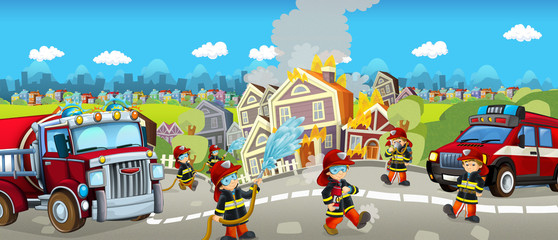 Cartoon happy and funny scene with firefighters extinguishing the house - for different fairy tales - illustration for children