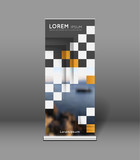 roll up banner template with chequer and inner shadows