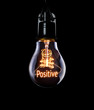 Hanging lightbulb with glowing Positive concept.