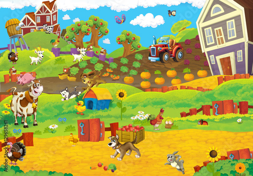 Fotobehang Boerderij Cartoon happy and funny traditional farm scene for different usage - illustration for children