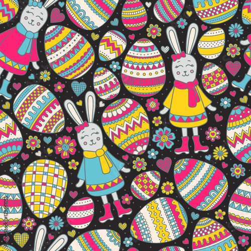 Materiał do szycia Cute Easter pattern. Vector seamless pattern with doodle easter elements. Colorful eggs, bunny, flowers, hearts with doodle ornament. Hand drawn background for kids.