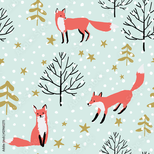 obraz PCV Red foxes in the woodland, stars, snow on the mint background. Vector seamless pattern with wild forest animal. Winter xmas illustration.