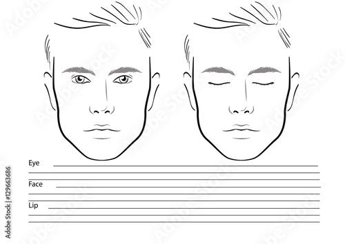 Face Chart Makeup Artist Blank Template Vector Illustration Buy