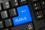 Blue Plan B Button on Keyboard. 3D.
