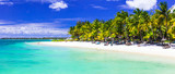 Perfect tropical white sandy beach with turquoise sea. Mauritius
