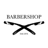 Fototapety Logo for barbershop, hair salon with barber razor blades. Vector Illustration