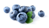 Blueberry. Fresh berries with leaves isolated on white backgroun