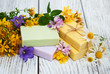 herbal  treatment - camomile, tutsan and soap