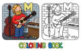 Musician or guitarist coloring book. Alphabet M