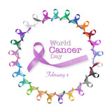 World cancer day, February 4 text message announcement among cycle of multi-color  lavender purple colour symbolic ribbons for raising awareness of all kind tumors supporting people living w/ illness