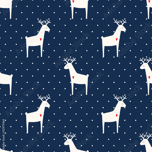 Materiał do szycia Deer with heart seamless pattern on polka dots blue background. Xmas animal background. Child drawing style animal illustration. Cute holidays design for textile, wallpaper, fabric.