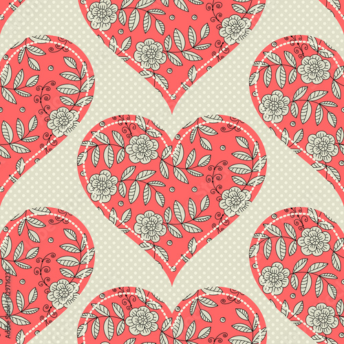 Cotton fabric Pattern seamless pattern with hearts