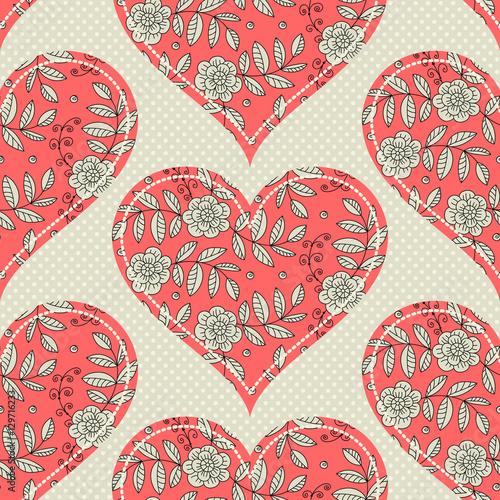 Cotton fabric Pattern seamless pattern with hearts