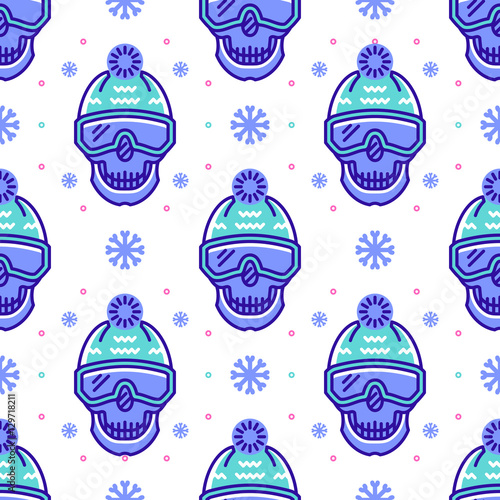 Materiał do szycia Snowboard pattern, winter sport seamless pattern. Trendy skull line icons in snowboard equipment, white background. Textile pattern sportswear, Modern hipster minimal design, Vector illustration