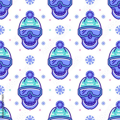 Cotton fabric Snowboard pattern, winter sport seamless pattern. Trendy skull line icons in snowboard equipment, white background. Textile pattern sportswear, Modern hipster minimal design, Vector illustration