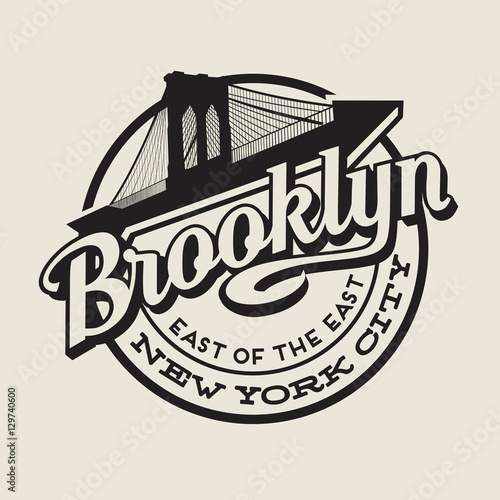Brooklyn New York City vintage typography t-shirt, poster, printing design. Brooklyn Bridge.