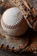 Old Baseball and Leather Ball Glove