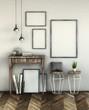 mock up poster frame in wooden interior background, 3D rendering illustration