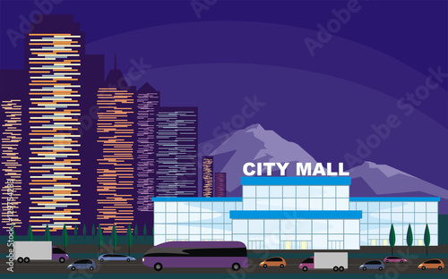 Foto op Canvas Violet Abstract image of a modern city. Night cityscape with tall buildings, skyscrapers and shopping center. Vector background for design presentations, web sites and banners.