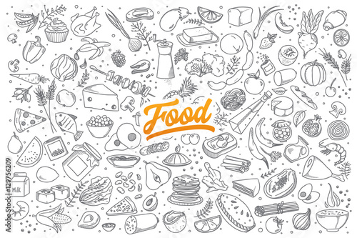 Hand drawn set of healthy food ingredient doodles with lettering in vector - 129756209