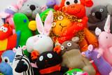 Large group of sock toys. Close up, horizontal shot - 129762662
