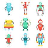 Different Cute Fantastic Robots Characters Set
