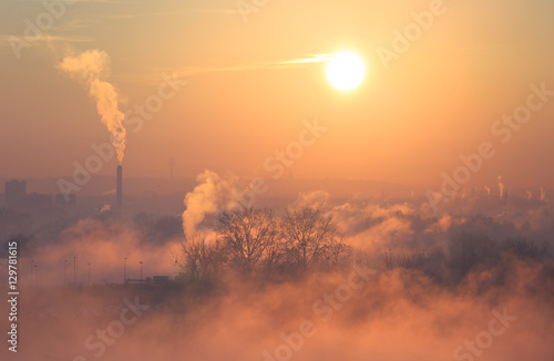 Smog, fog and pollution in Lyon during a winter sunrise.