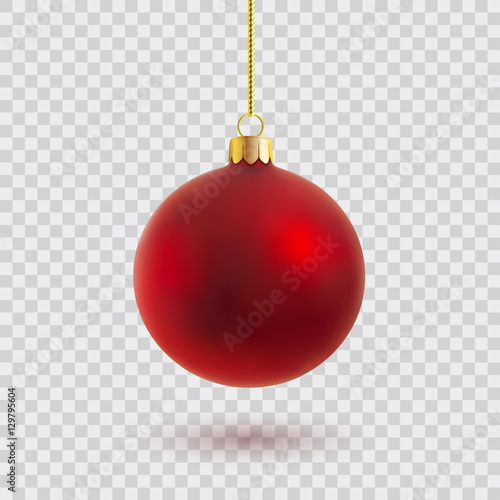 Foto op Canvas Bol red christmas ball vector illustration