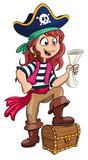 Fototapety Vektor Illustration einer mutigen Piratin