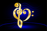 Music note stave and heart violin and bass clef,