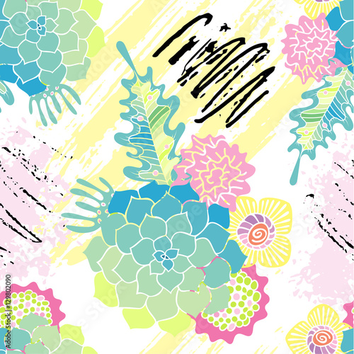 Fototapeta Succulent seamless pattern with brush strokes. Floral style.