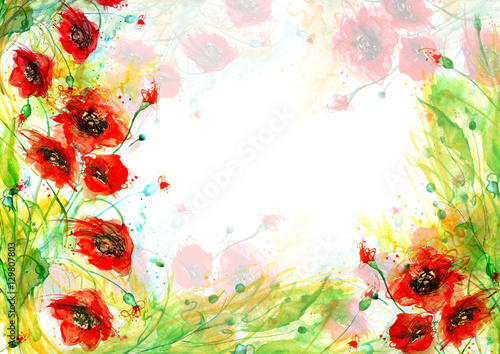 Naklejka Watercolor red poppy flowers. Painting, hand drawing, paint splash. Beautiful vintage card, invitation, announcement, frame with place for text. A series of works.